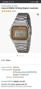 Amazon: Reloj Casio A158 dorado