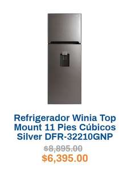 Chedraui: Refrigerador Winia 11 Pies