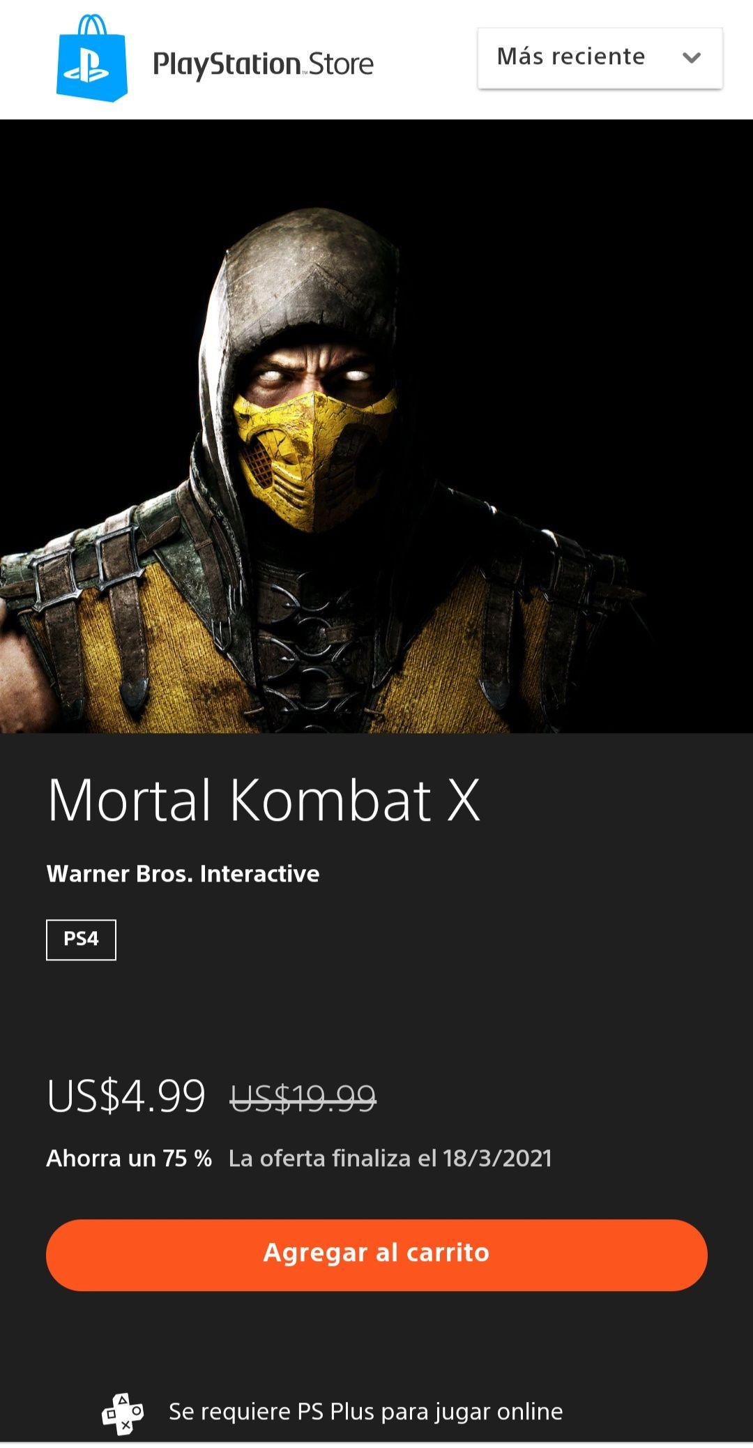 PSN Store: Mortal Kombat x