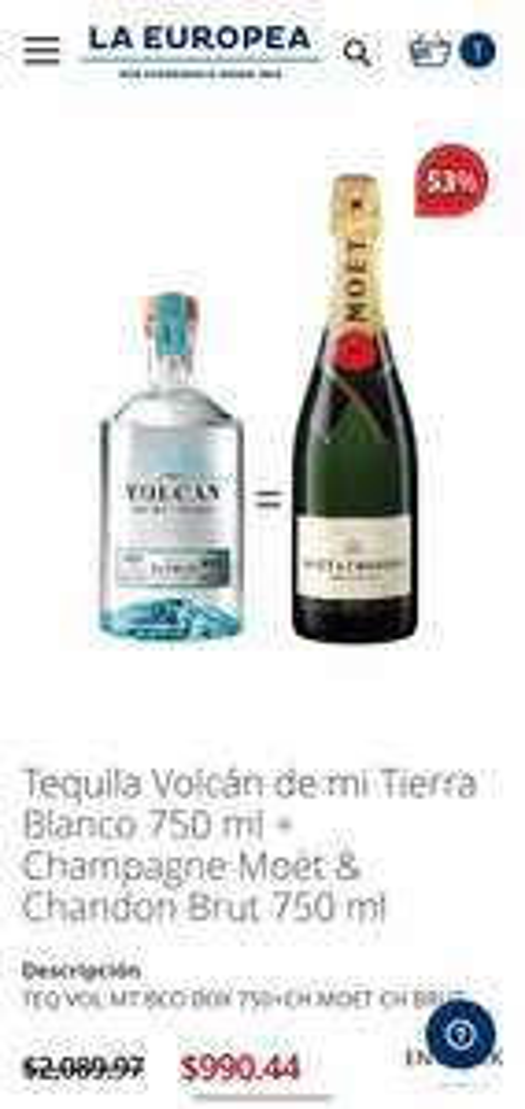 La Europea: Tequila Volcán de mi Tierra Blanco 750 ml + Champagne Moët & Chandon Brut 750 ml