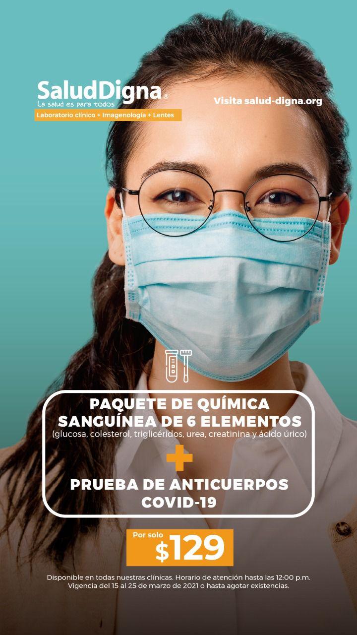 Salud Digna: Anticuerpos Covid + Química 6 elementos