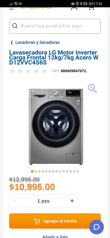 Chedraui: Lavasecadora lg 12/7 kg