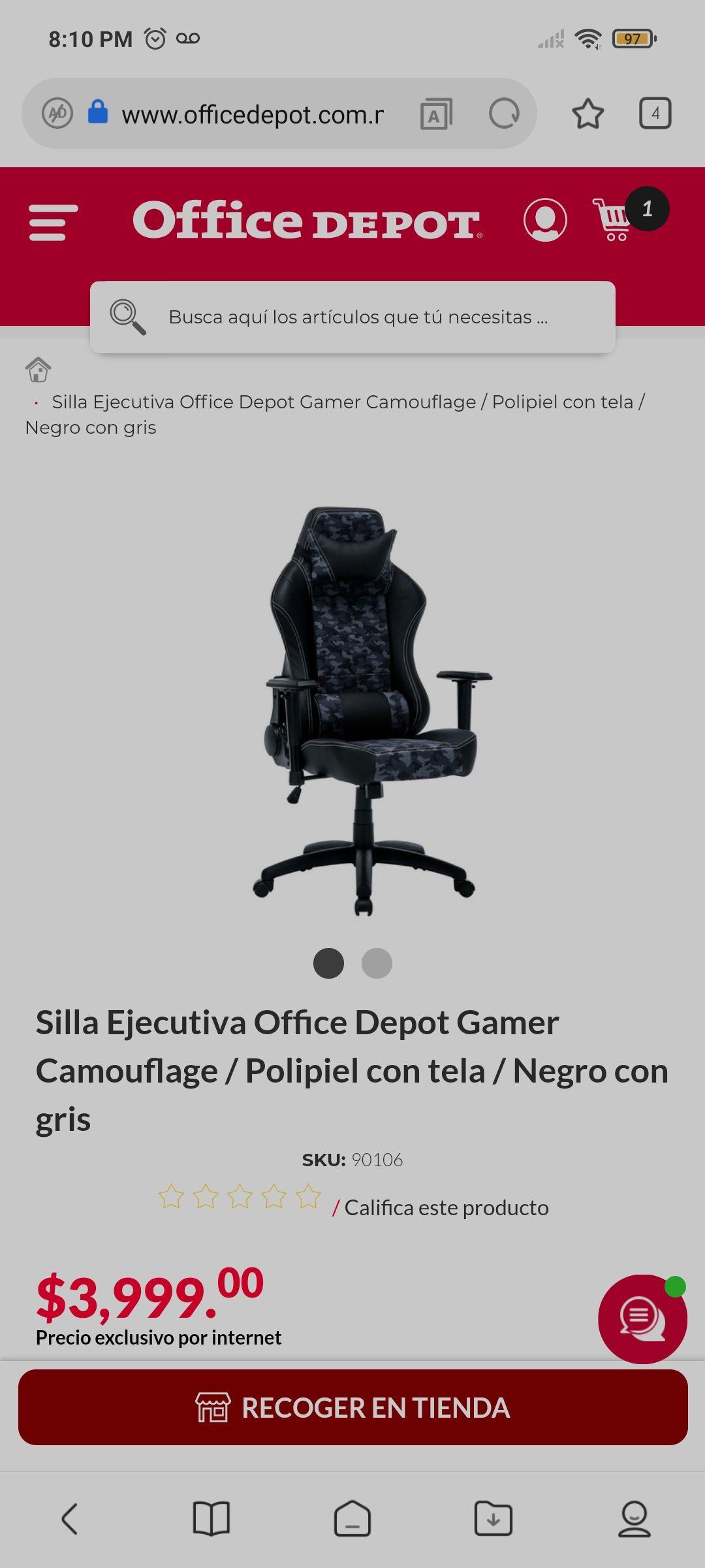 Office Depot: Silla Ejecutiva Gamer Camouflage / Polipiel con tela / Negro con gris