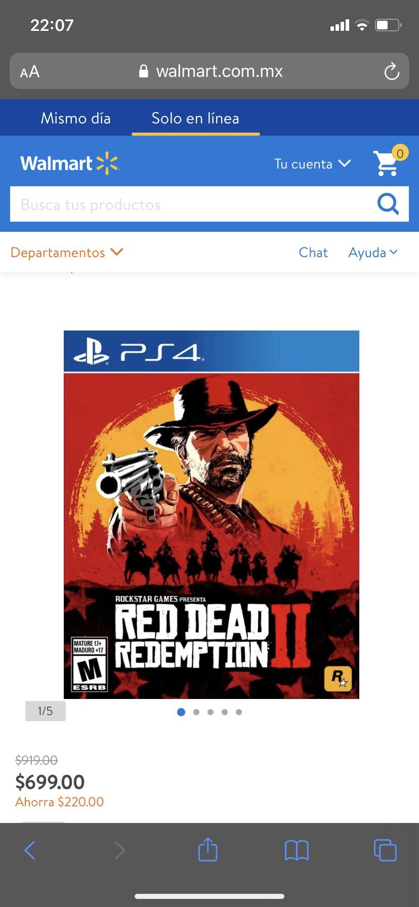 Walmart: Red dead redemption 2 PS4 Físico