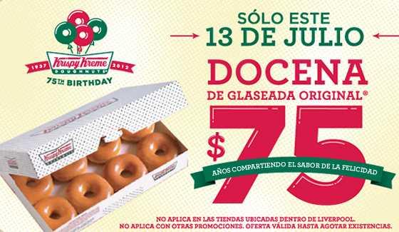 Krispy Kreme: docena a $75 el 13 de julio