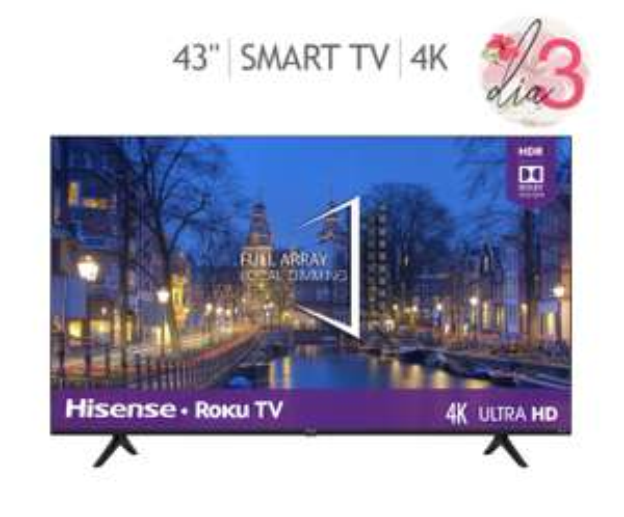 "Costco: Hisense Pantalla 43"" Roku TV UHD 4K"