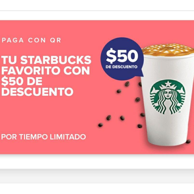 Mercado Pago: $50 de Descuento en Starbucks, Compra Min. $90 [Pago con QR]