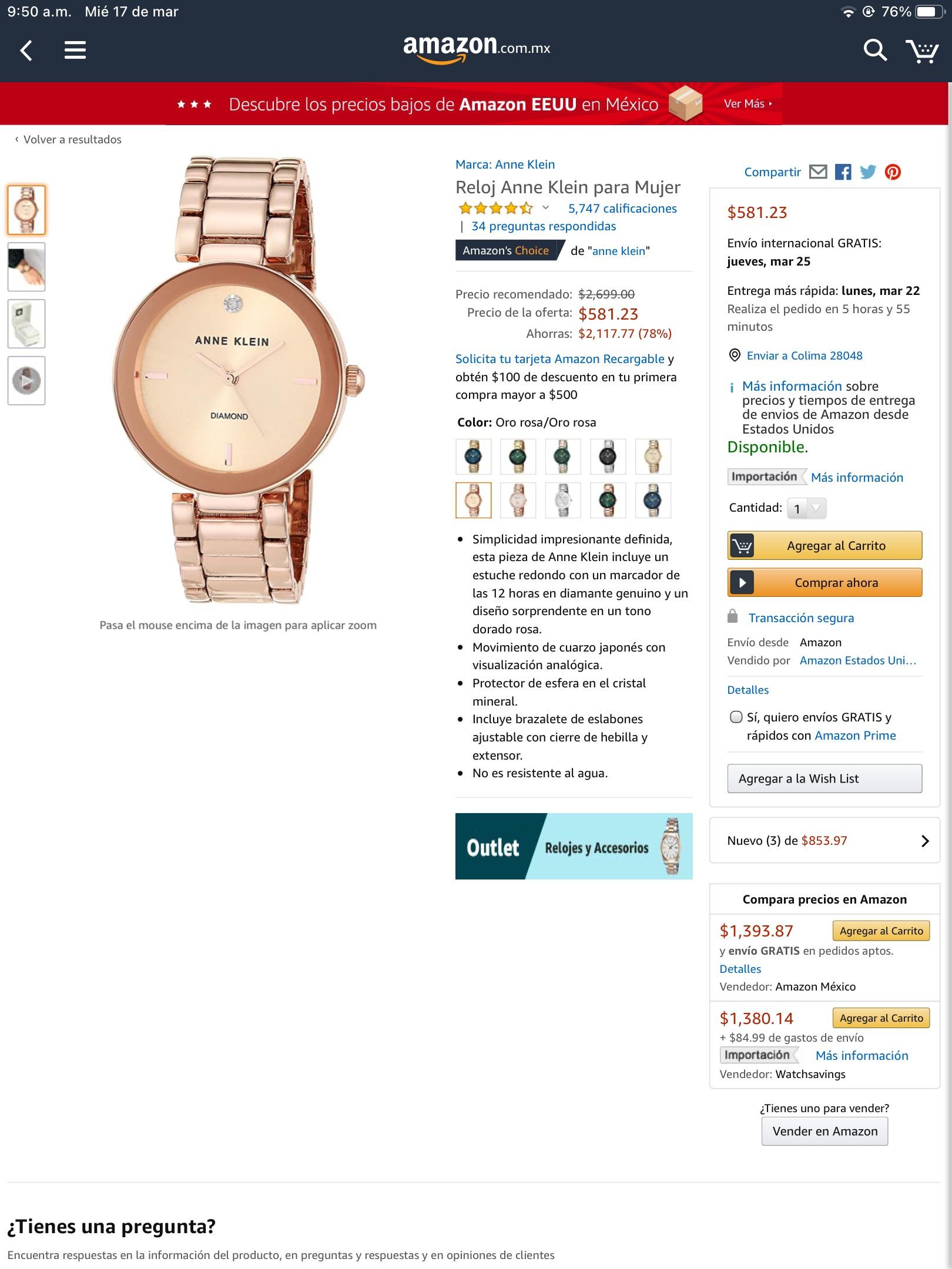 Amazon: Reloj Anne Klein mujer