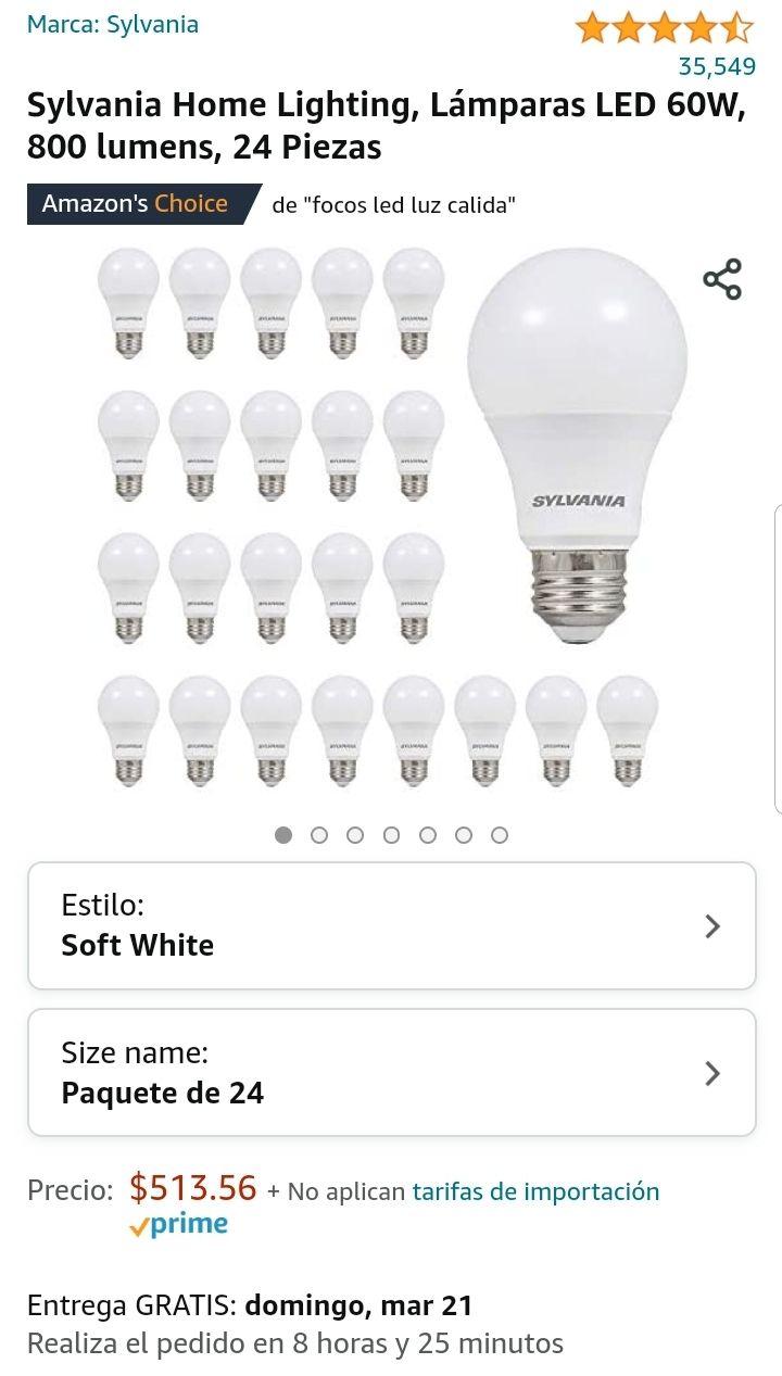 Amazon: 24 piezas Sylvania Home Lighting, Lámparas LED 60W, 800 lumens