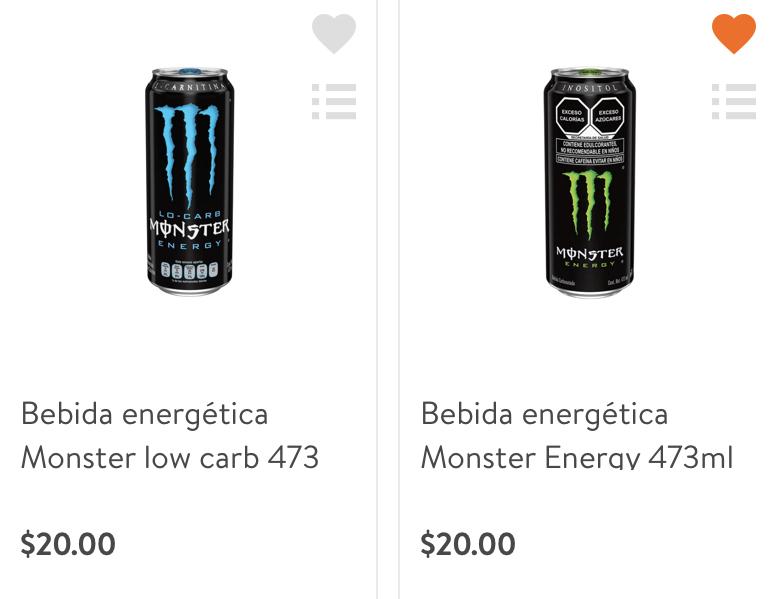 Monster todos los sabores 20$ (Walmart)
