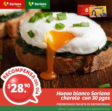 Soriana Híper y Súper (Recompensa Jueves 01 Septiembre) Huevo Blanco Soriana charola 30 piezas $28.90 o a $9.90 con 150 puntos