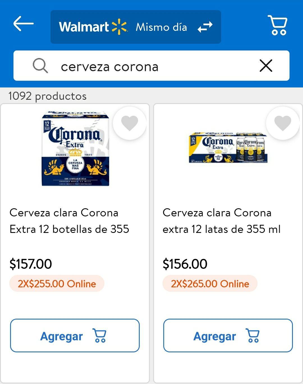 Walmart: CERVEZA CLARA CORONA DE 355ML: 24 BOTELLAS * $255, 24 LATAS * $265