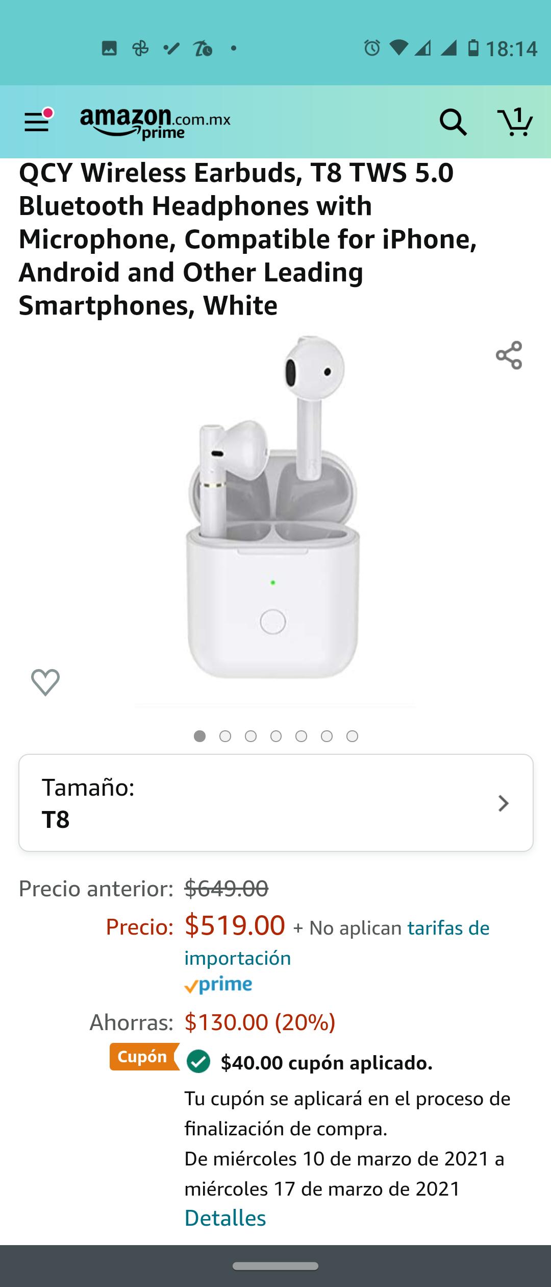 Amazon: QCY T8 Audífonos Bluetooth 5.0 TWS casi al precio de AliExpress