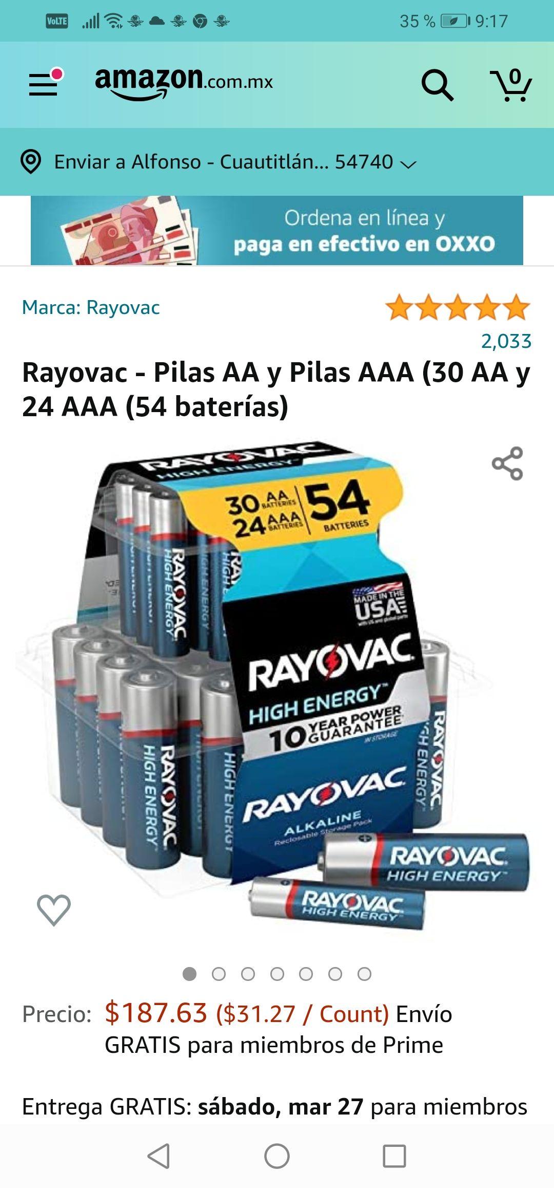 Amazon: Rayovac - Pilas AA y Pilas AAA (30 AA y 24 AAA (54 baterías)