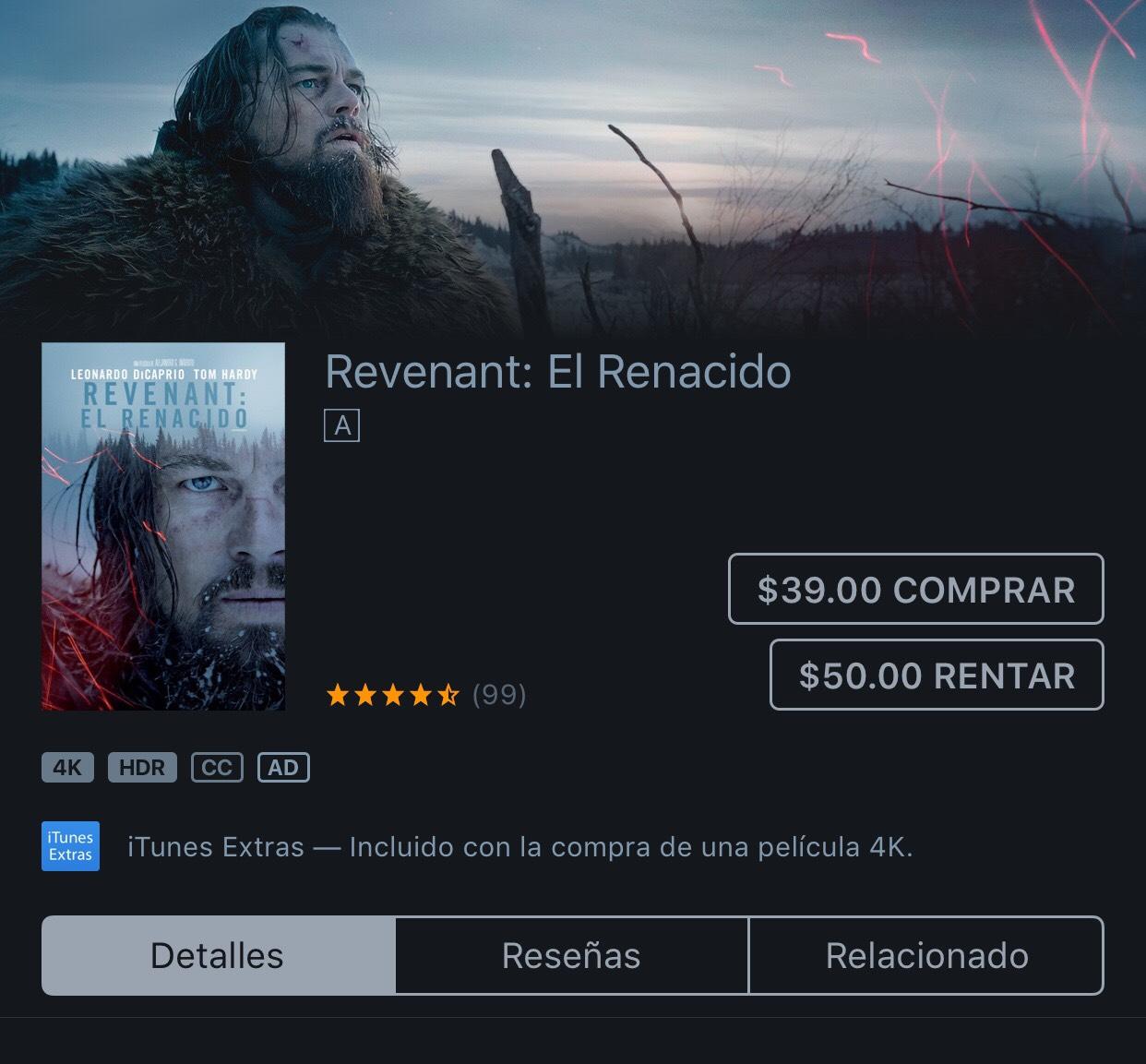 iTunes: El Renacido 4K