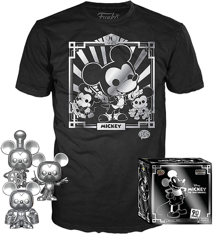 Amazon: Funko Pop! Paquete de 3 y Playera: Disney – Playera de Mickey 90 y Willie de Buque de Vapor Plateado