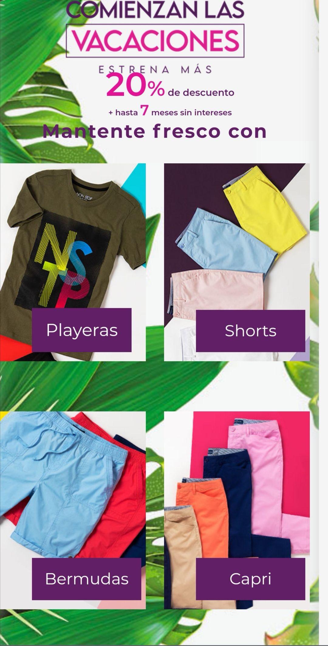 Suburbia: 20% de descuento en playeras, shorts, bermudas y capris