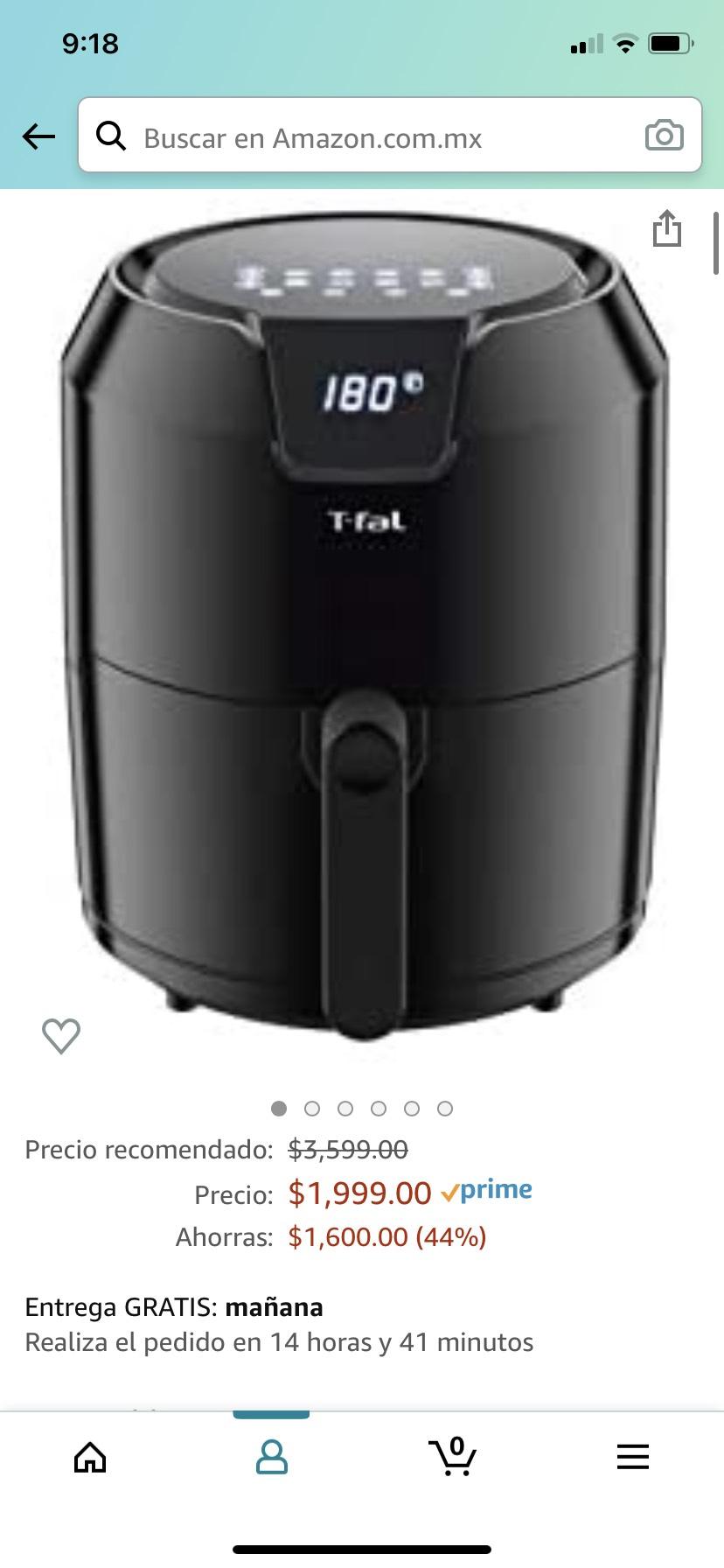 Amazon: T-Fal EY4018MX Freidora sin aceite EASY FRY 4.2L con Panel Digital