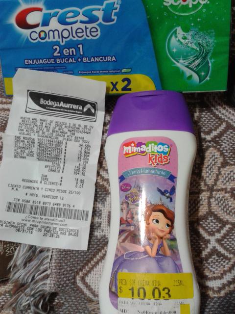 Bodega Aurrerá: Crema para niña a $3.01, paquete de pasta Crest a $17.03