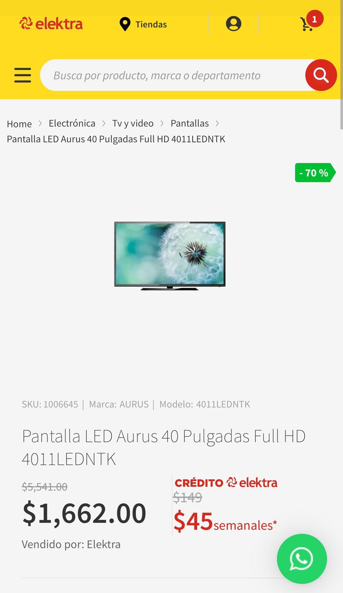 Elektra: Pantalla LED Aurus 40 Pulgadas Full HD 4011LEDNTK