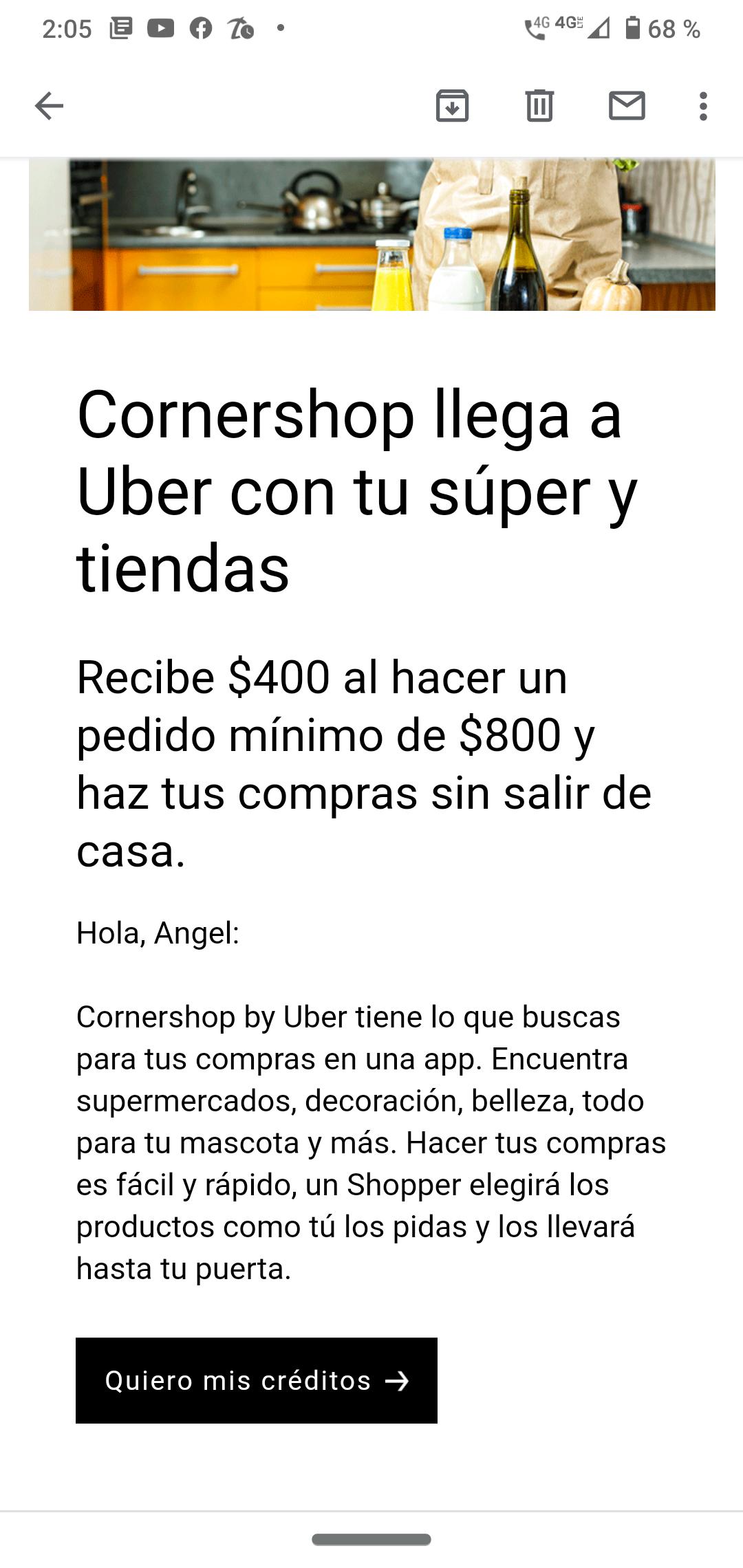 Uber: CornerShop 400 de descuento gastando 800 (Seleccionados)