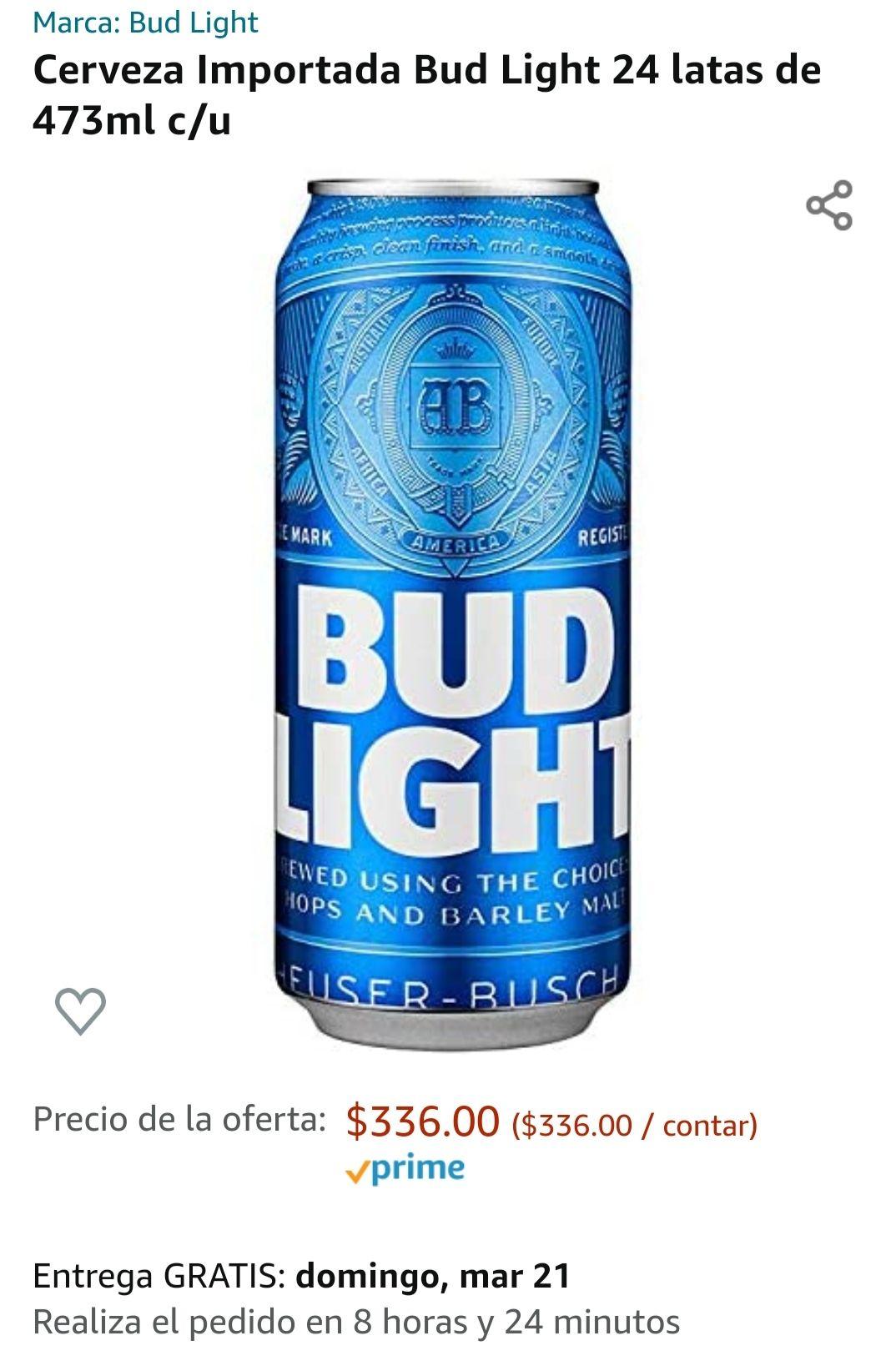 Amazon: Bud Light 24 latones de 473 ml