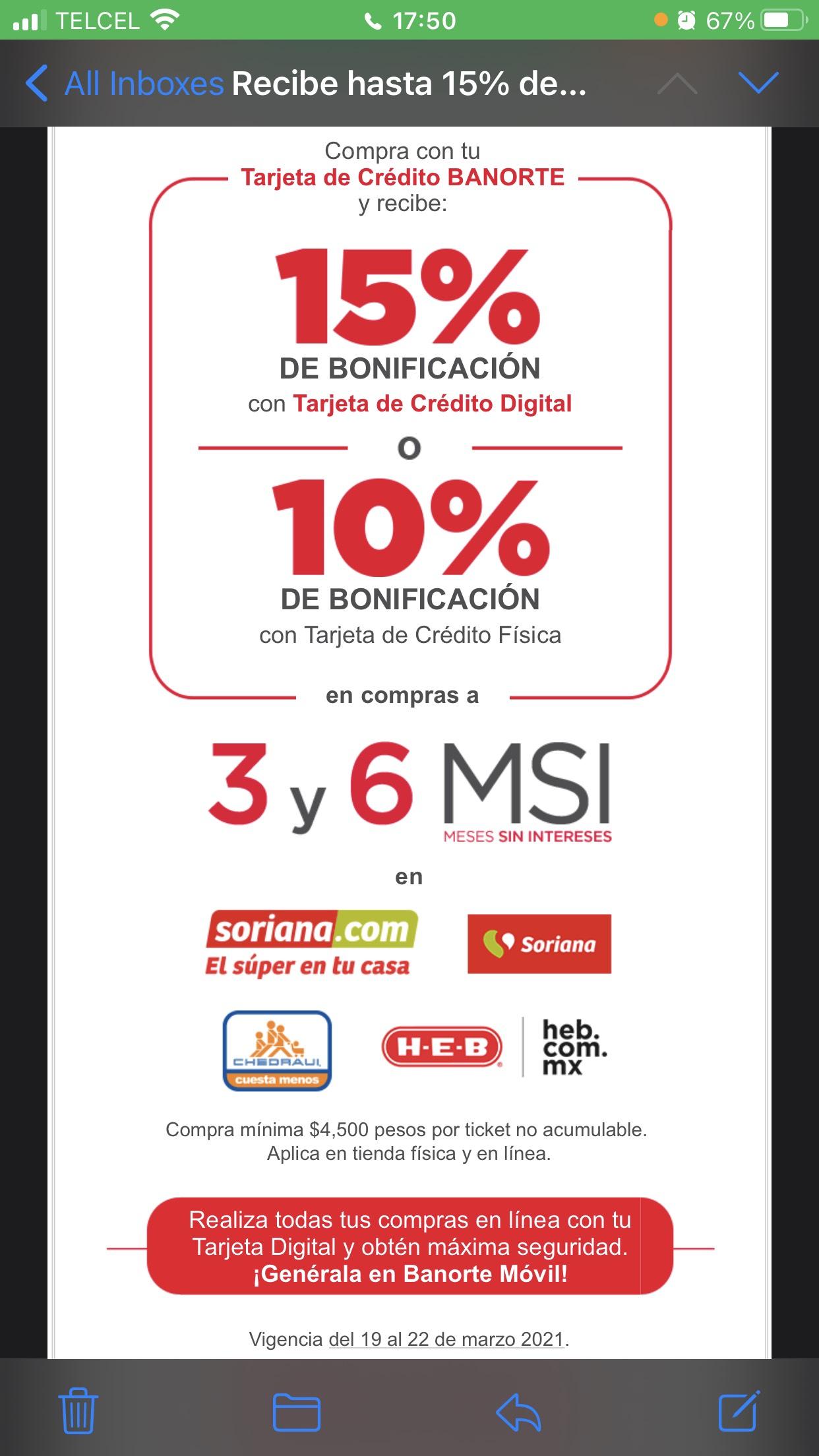 Banorte: Bonificación del 15% en Chedraui, Soriana y HEB