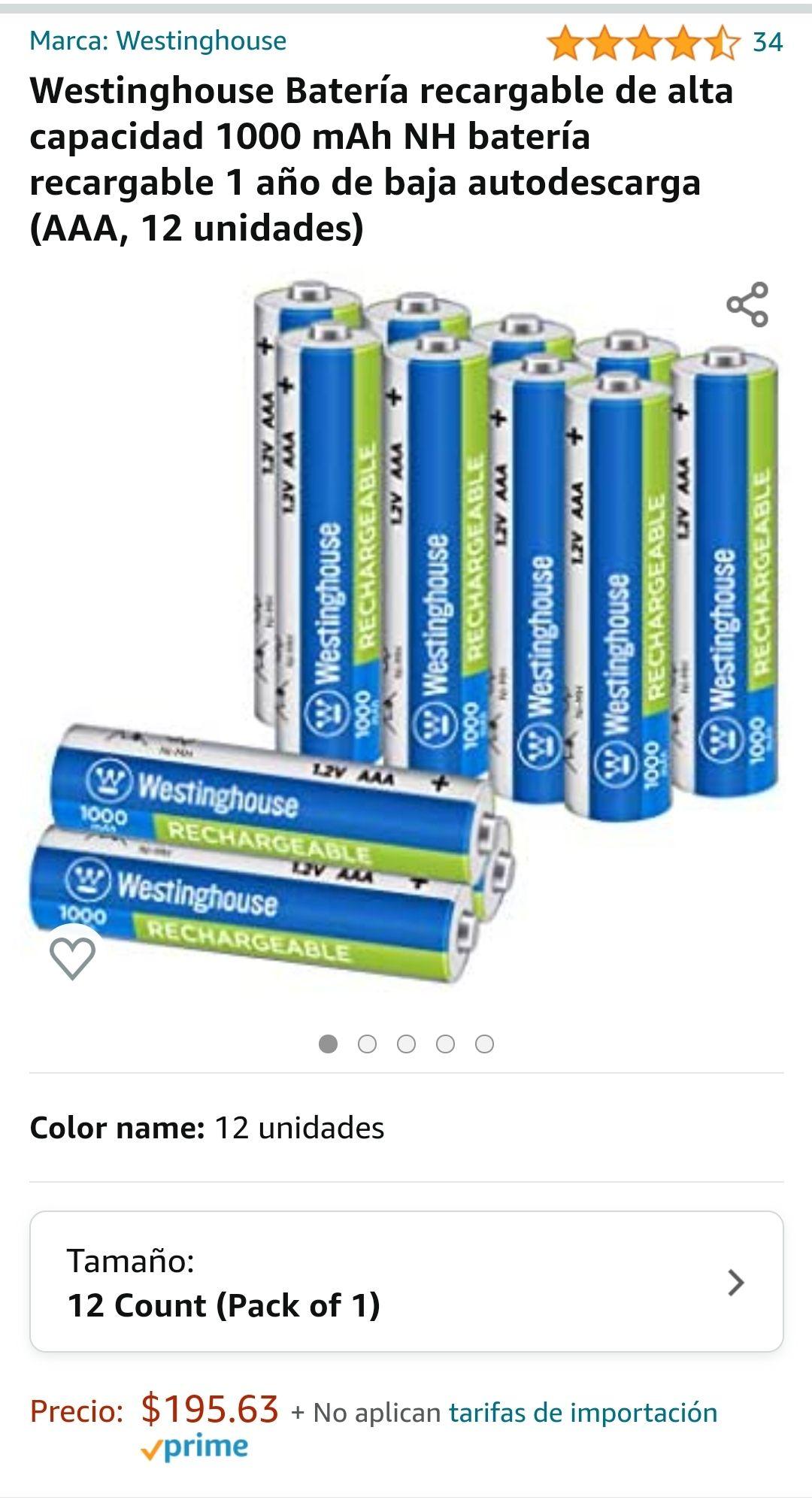 Amazon: 12 baterías AAA recargables whestinhouse