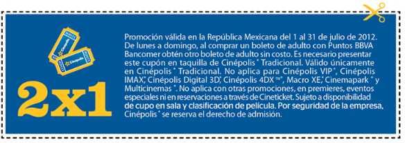 Cinépolis: cupón de 2x1 pagando con Puntos Bancomer
