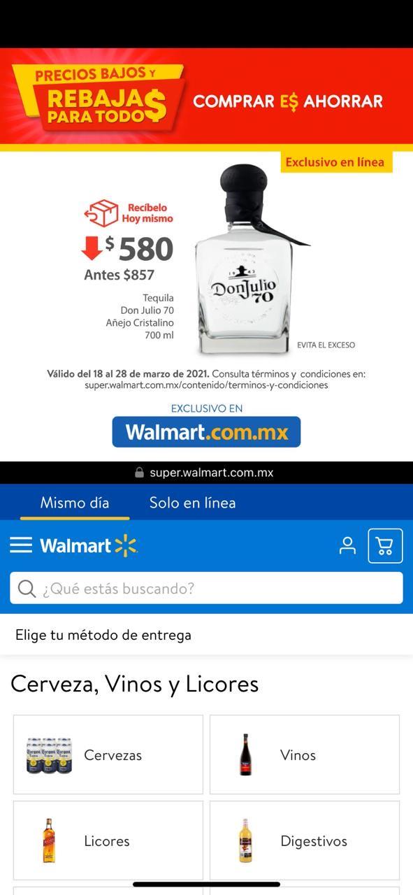 Walmart: Vinos y licores Rebajas