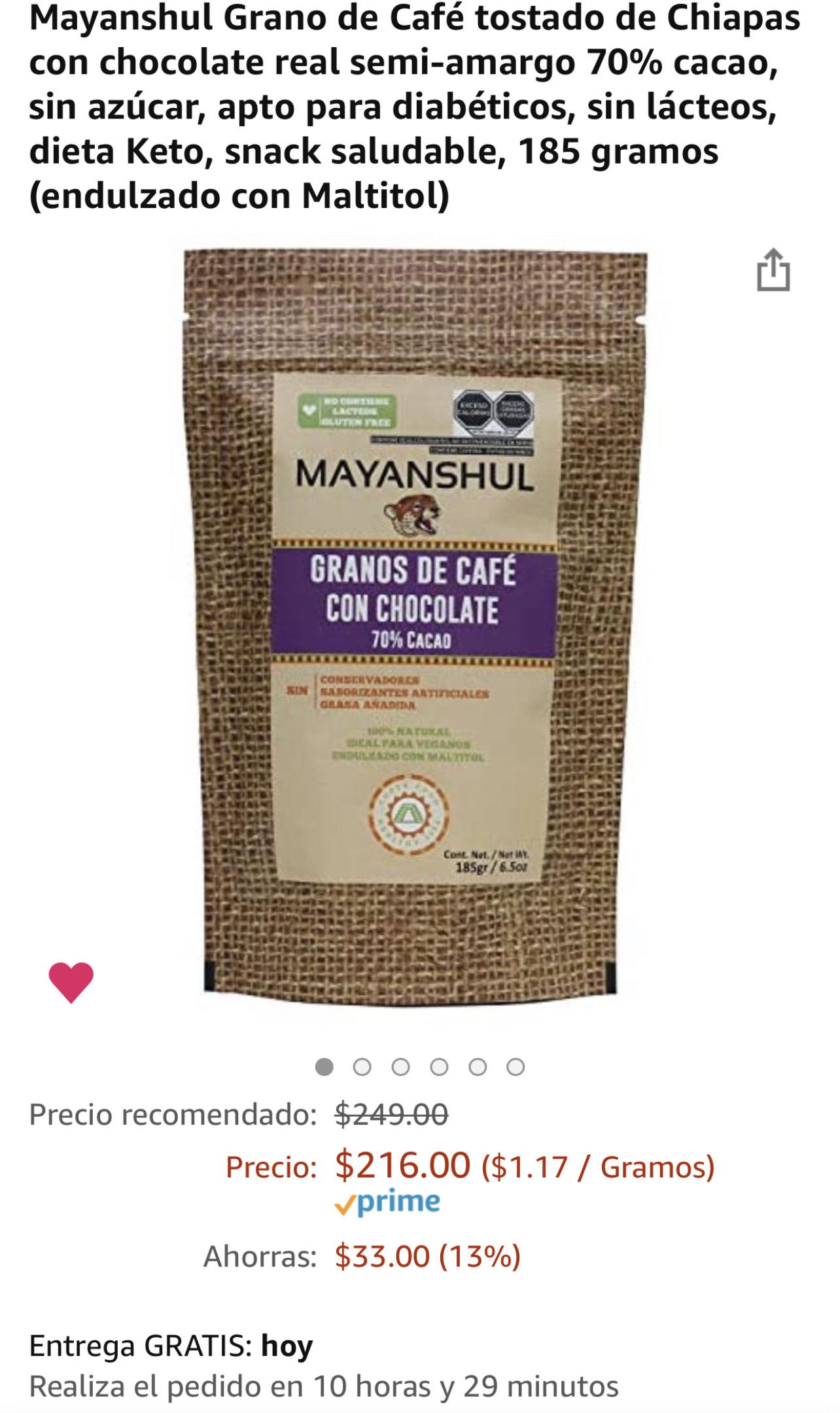 Amazon: Grano de Café tostado de Chiapas con chocolate real semi-amargo 70% cacao, sin azúcar, sin lácteos, snack saludable
