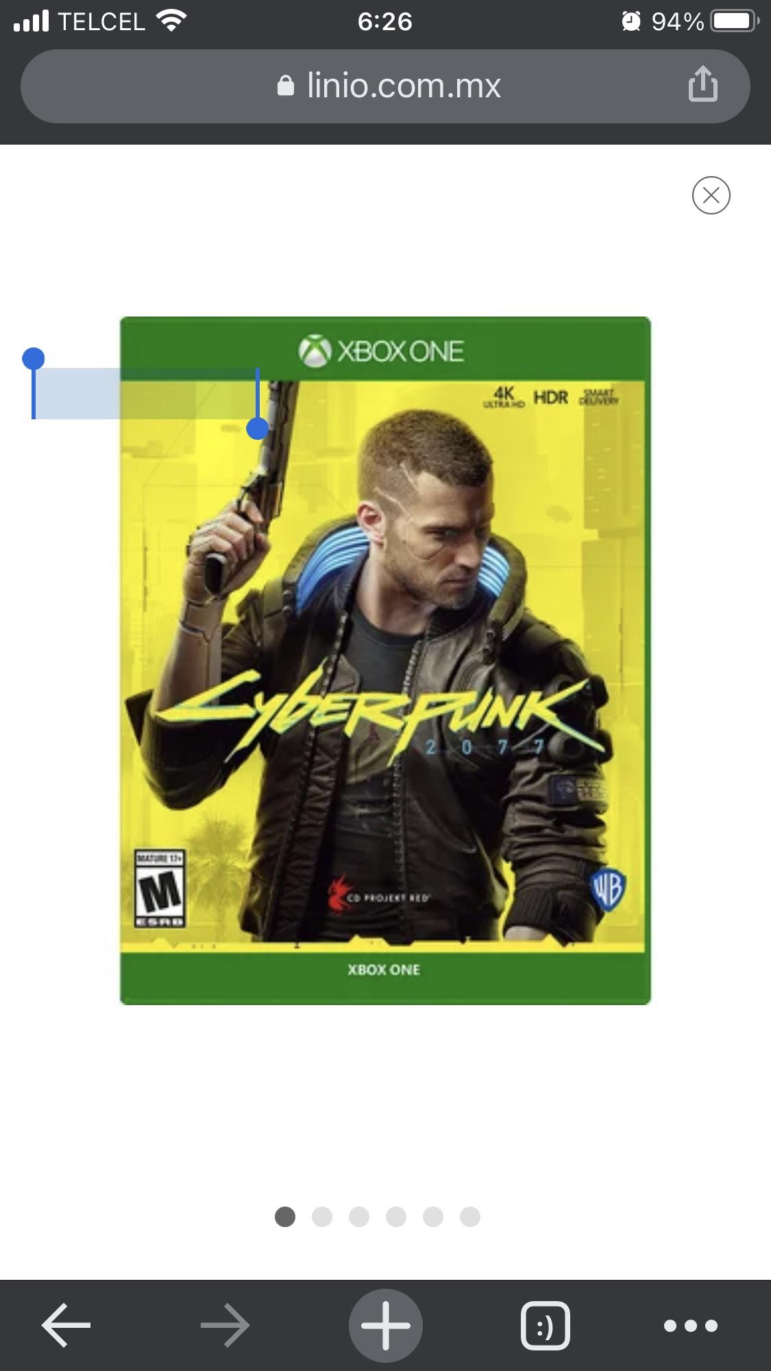 Linio: Cyberpunk 2077 para Xbox pagando con paypal.