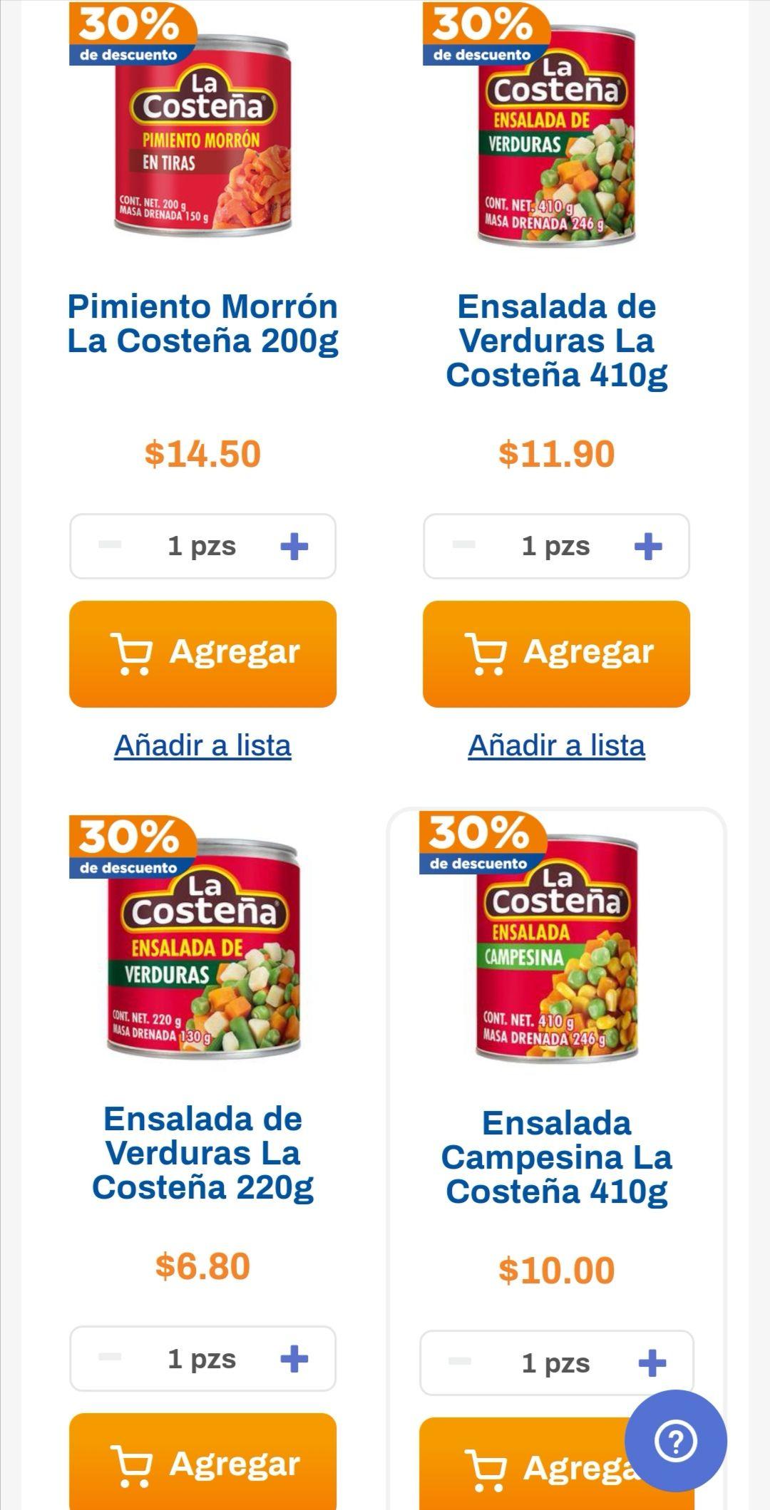 Chedraui: 30% de descuento en legumbres y vegetales La Costeña