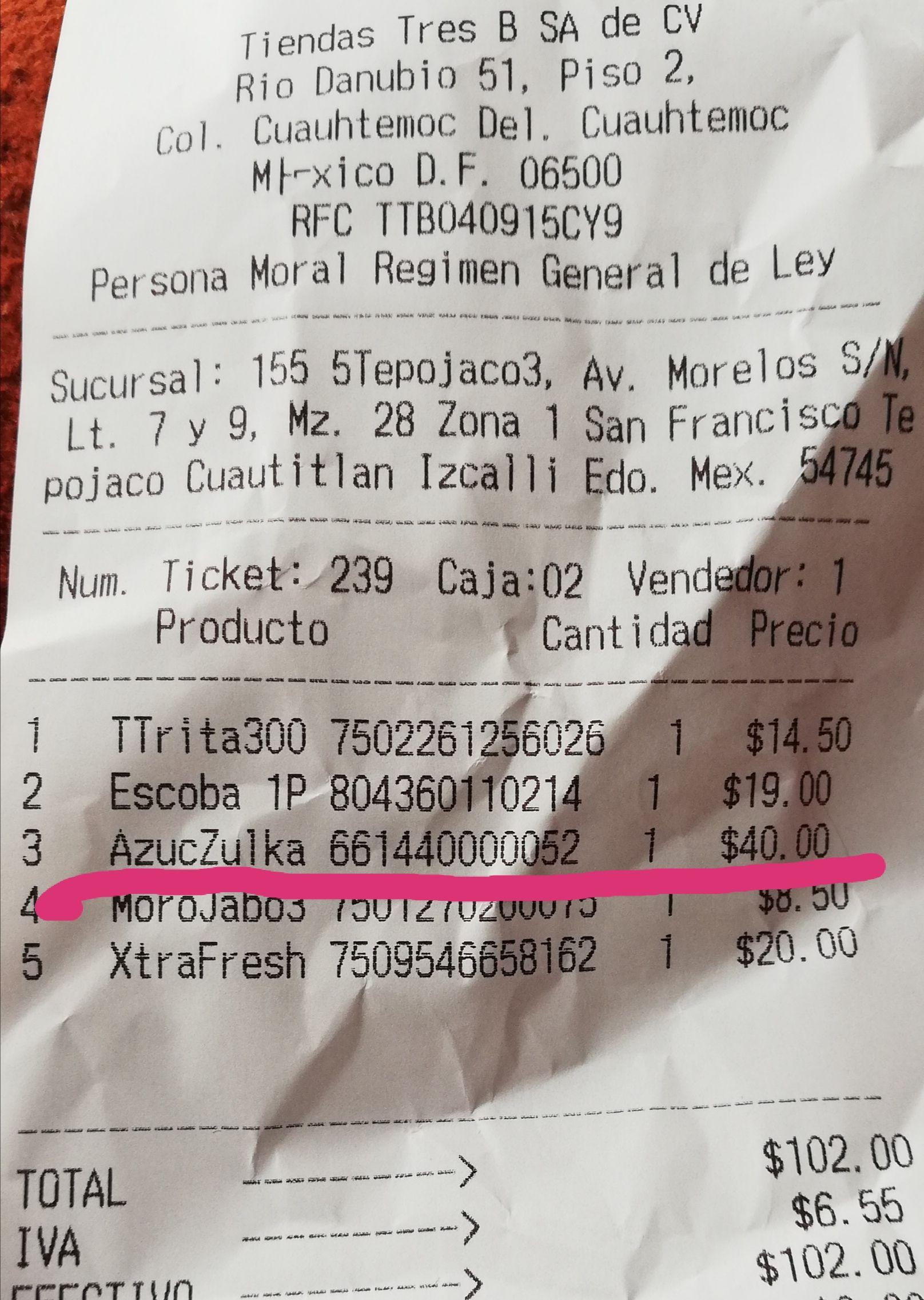 Tiendas Tres B: zulka 2kg $40