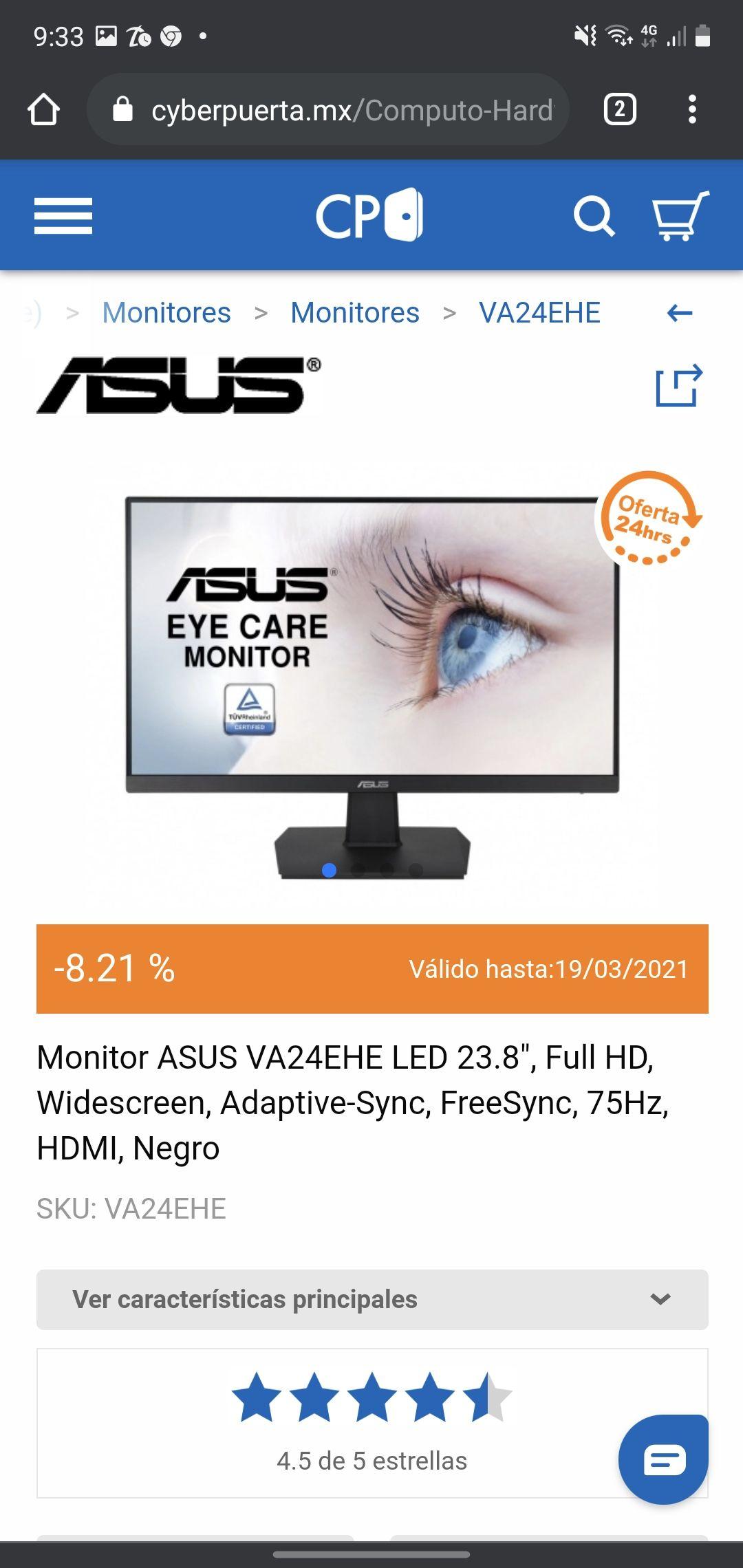 "Cyberpuerta, Monitor ASUS VA24EHE LED 23.8"", Full HD"