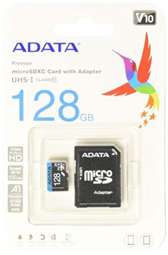 Amazon, ADATA 128 GB Tarjeta de Memoria Micro SDXC con Adaptador Color Negro con Azul A1 (Clase 10)