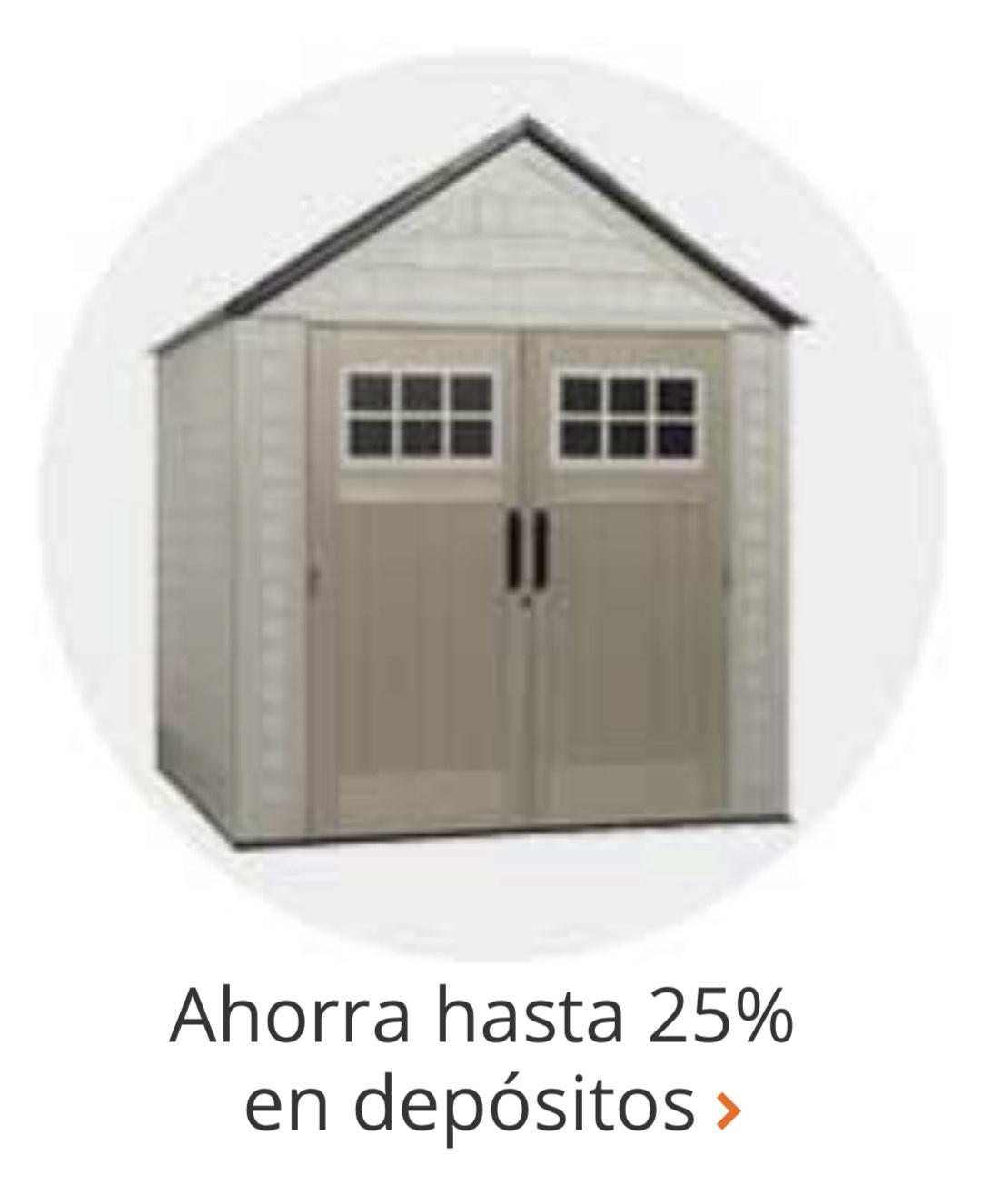 25% dicto. Home Depot Casas/Almacenamiento para exterior con 25% dicto.
