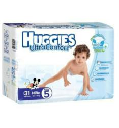 Walmart: Pañales Huggies UltraConfort Etapa 5 Niño 31 Piezas a 2 paquetes por $220