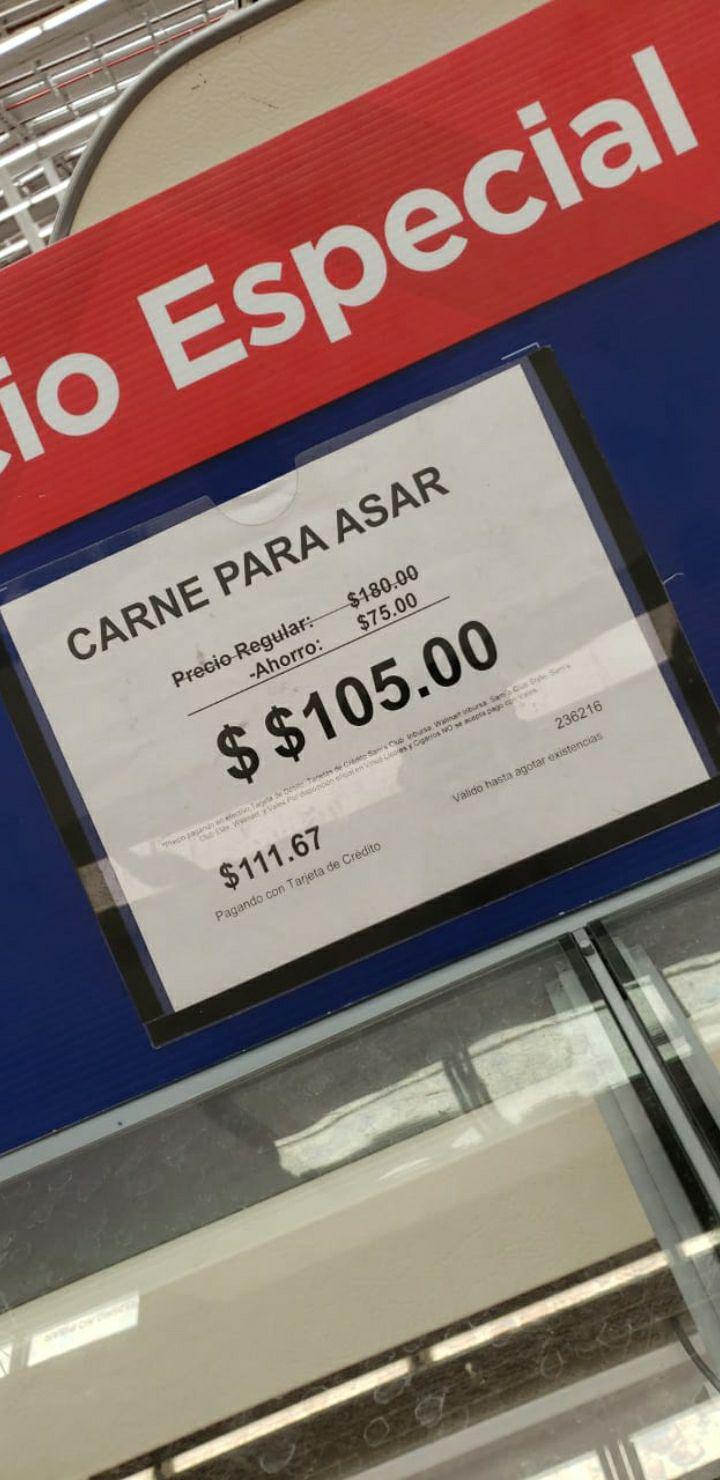 Sam's Club: Coatzacoalcos, carne para asar $105kg también hay cervecita barata