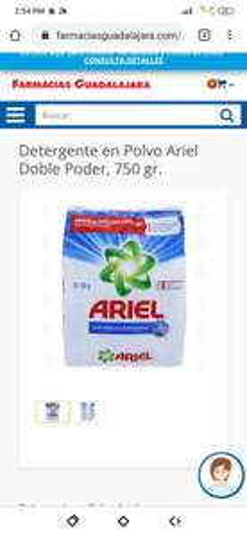 Farmacias Guadalajara Ariel 750gr en oferta de fin de semana 21.9