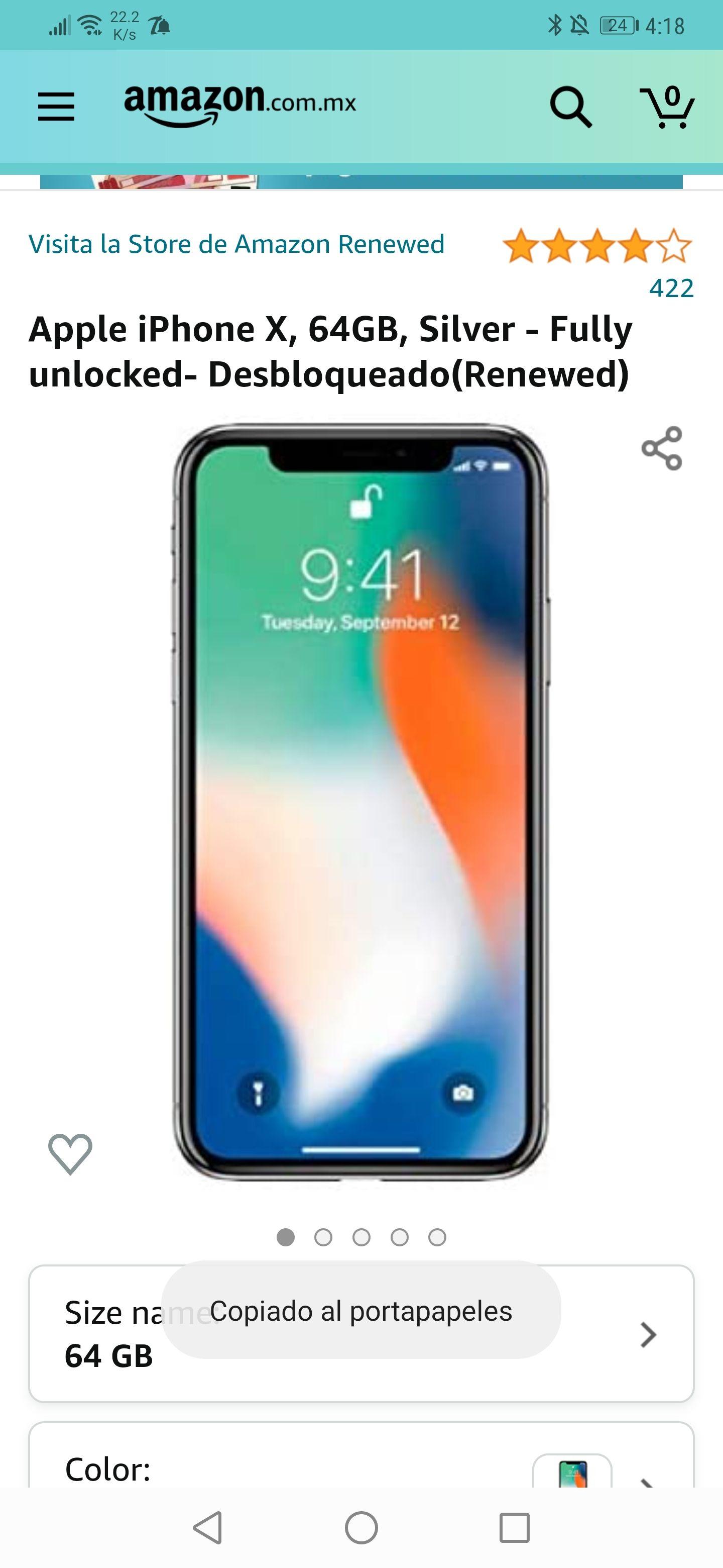 Amazon : Apple iPhone X, 64GB, Silver - Desbloqueado(Renewed)