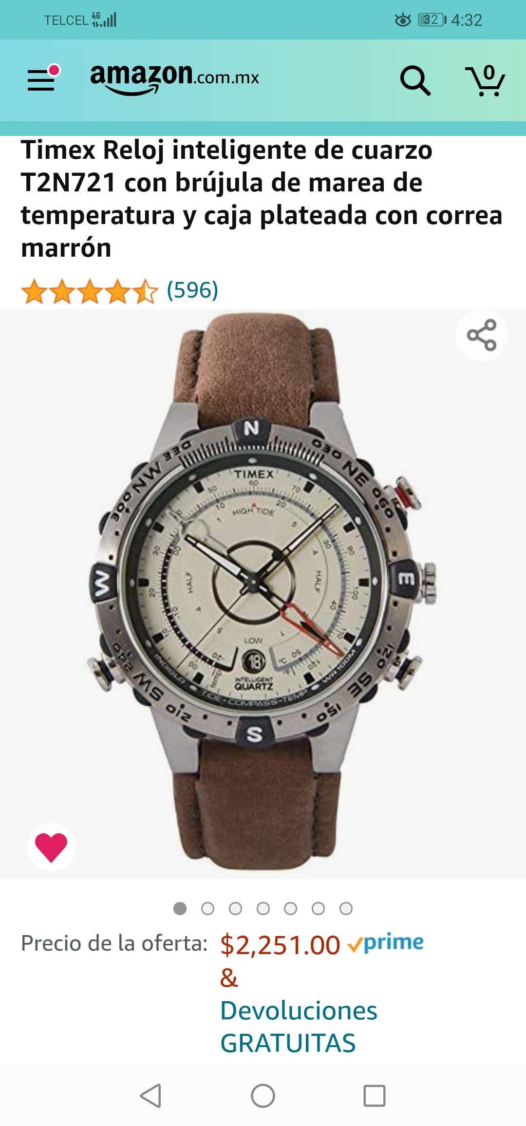 Amazon: Timex Reloj inteligente de cuarzo T2N721 con brújula de marea de temperatura y caja plateada con correa marrón