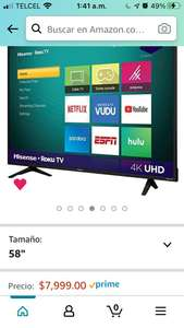 "Amazon: Pantalla Hisense 58"" 4K con Roku (Reacondicionada)"