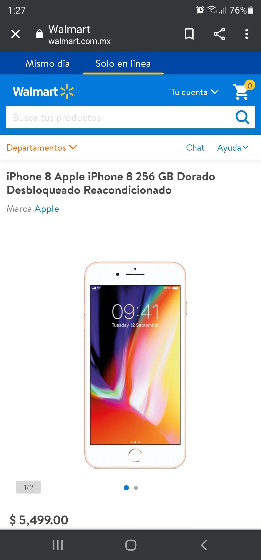 Walmart iPhone 8 Apple iPhone 8 256 GB Dorado Desbloqueado Reacondicionado