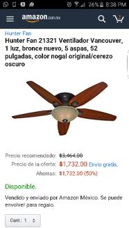 Amazon: Abanico de techo Hunter con 50%
