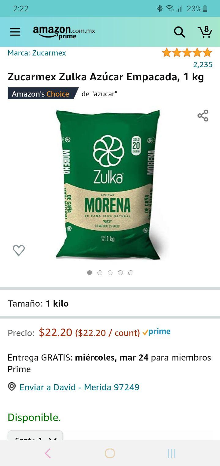 Amazon: azúcar zulka 1kg a buen precio