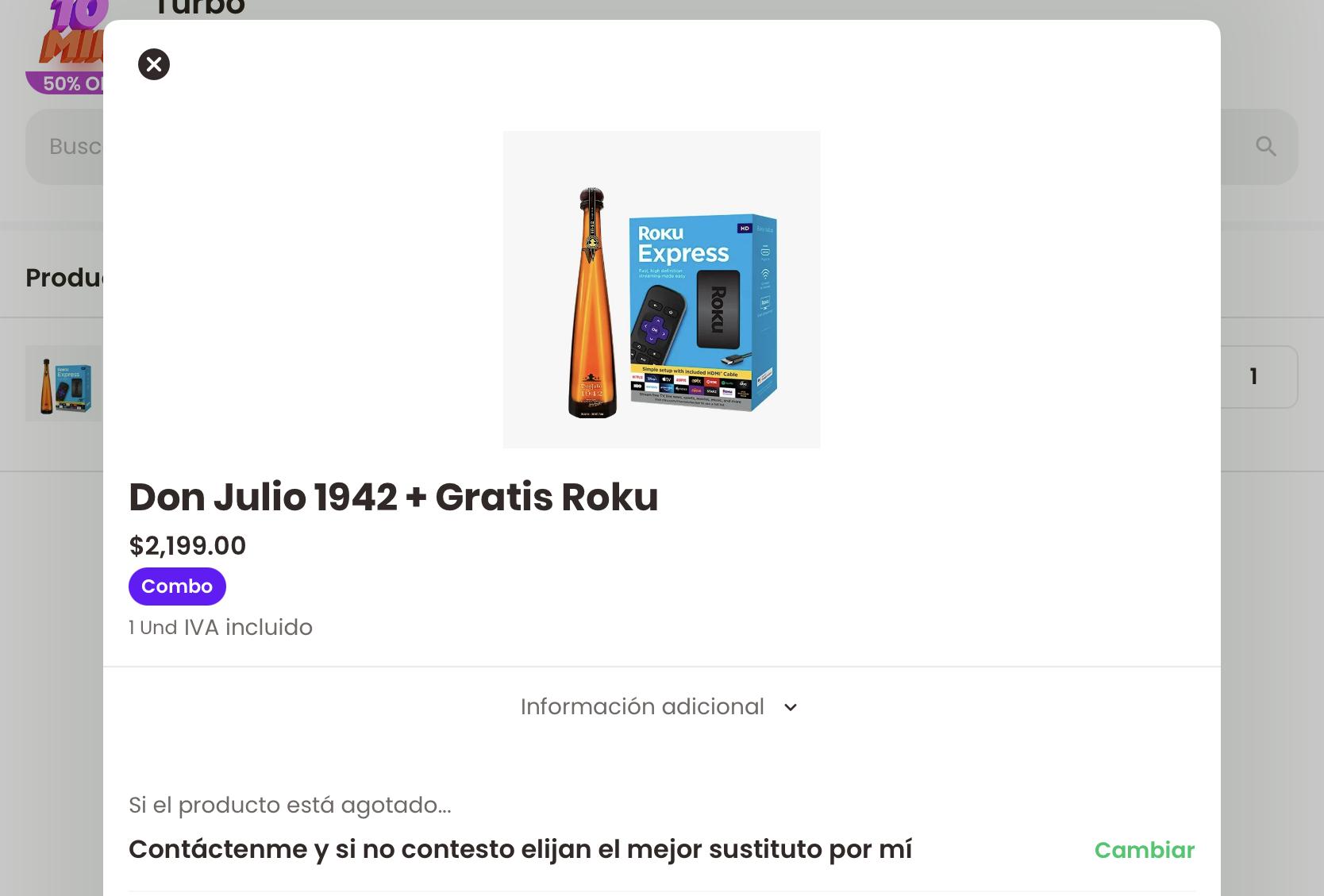 Tequila Don Julio 1942 + Roku Gratis (CDMX) RAPPI