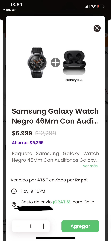 Rappi: Galaxy Watch Negro 46Mm con Audífonos