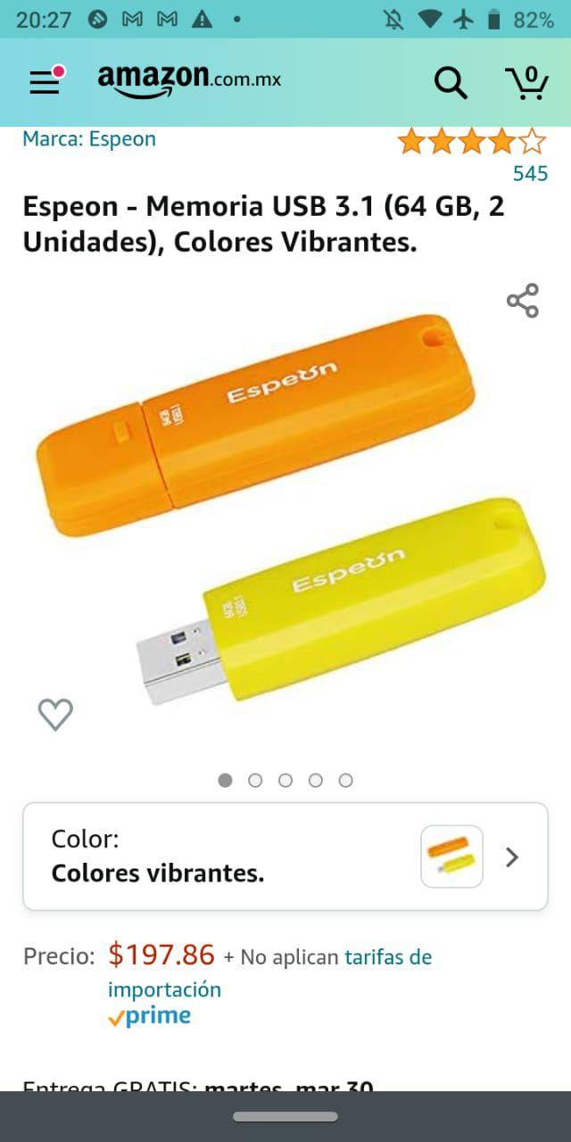 Amazon: 2 Memorias USB 3.1 de 64 GB c/u marca Espeon