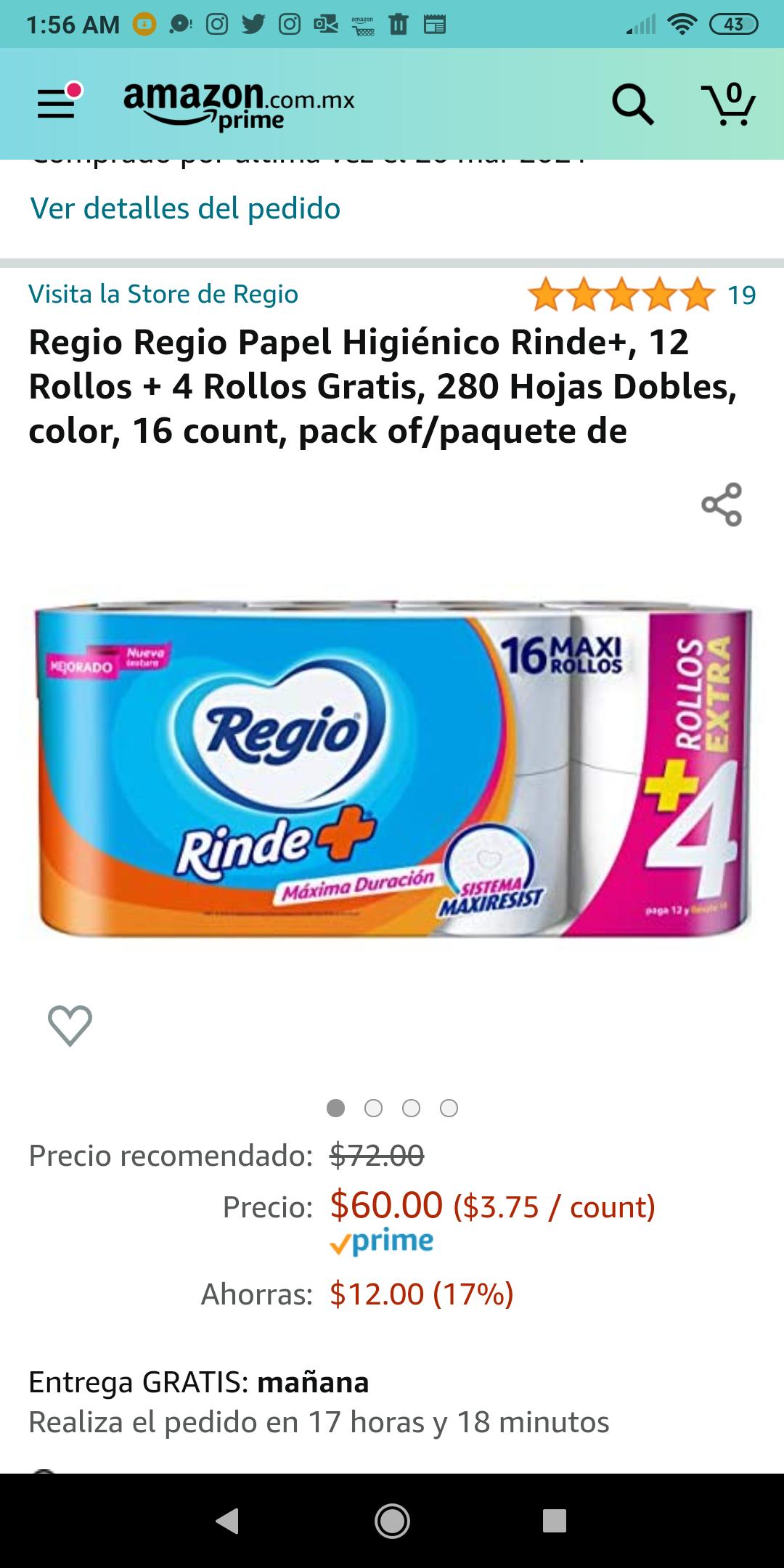 Amazon: Regio 16 maxirollos de 280 hojas. Aplica Prime.